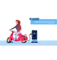 young girl sit electric scooter charging at vector image vector image