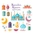 ramadan kareem themed authentic icons collection vector image