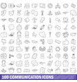 100 communication icons set outline style vector image vector image