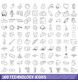 100 technology icons set outline style vector image vector image