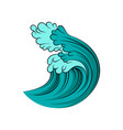 big blue ocean wave with black outline isolated on vector image vector image