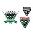 billiard or poolroom emblem vector image vector image