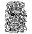 black and white drawing with scary skull vector image vector image