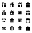 black gift icon set vector image vector image