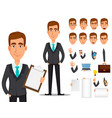 business man cartoon character creation set vector image vector image
