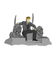 businessman like a king sitting on throne chair vector image