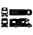 camper van black icons vector image