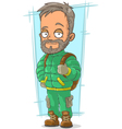 Cartoon bearded traveler in green vector image vector image