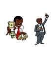 Cartoon businessmen with money packs vector image vector image