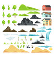 Cartoon landscape elements with mountains