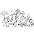 cartoon vegetables for coloring book vector image vector image