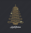 christmas tree golden design on black background vector image vector image