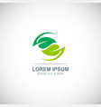 circle green leaf organic logo vector image vector image