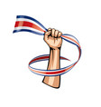 costa rica flag and hand on white background vector image vector image