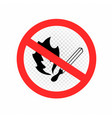 do not make fire sign icon transparent vector image vector image