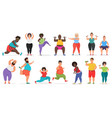 fat cute people doing fitness exercise training vector image vector image
