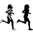 female runner sketch and silhouette vector image