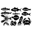 fish and seafood silhouettes for vintage logo vector image