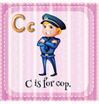 Flashcard letter C is for cop vector image