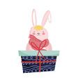fluffy rabbit adorable gift box merry christmas vector image vector image