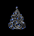 hand-drawn Christmas tree with glowing toys vector image vector image