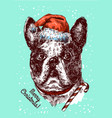 hand drawn dog sketch style drawing christmas vector image