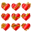 Heart-shaped red cards vector image