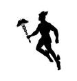 hermes greek god silhouette mythology symbol vector image