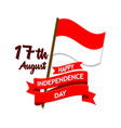 indonesia independence day flag badge vector image vector image