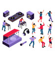 isometric dj party set vector image vector image