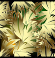 lace leafy gold baroque 3d seamless pattern vector image vector image