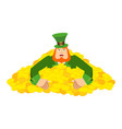leprechaun gold dwarf with red beard in heap vector image