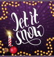 let it snow square purple postcard with frame vector image