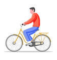 man on old city bicycle vector image