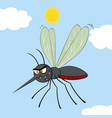 mosquito cartoon character flying vector image vector image