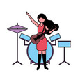 musician woman with guitar and drums vector image