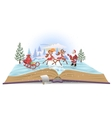 Open book Santa Claus with sledge and deers vector image vector image