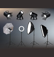 photo studio accessories spotlights softboxes and vector image