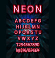 red set neon font vector image vector image