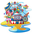 scene with funny clown at fun fair on white vector image vector image