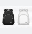 school backpack black and white rucksack front vector image