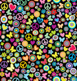 Seamless pattern of flowers circles hearts vector image vector image