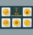 set of different cryptocurrency flat style on a vector image vector image