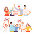 set people in protective medical face masks vector image