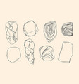 set stones with edges shapes marble granite vector image