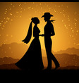 silhouettes of young woman and cowboy man vector image vector image