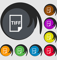TIFF Icon sign Symbols on eight colored buttons vector image