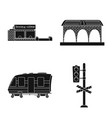 train and station logo vector image vector image