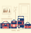 travel bag for traveling design flat vector image vector image