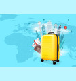 travel destinations concept with yellow bag vector image vector image